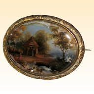 Reverse Painted Brooch with Miniature Country Scene- Circa 1840