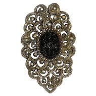 Dress or Fur Clip with Marcasites and Molded Black Glass Stone