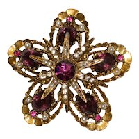 Vintage ART (c) Signed Flower Brooch with Faux Amethysts and Costume Pearls