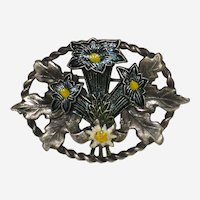 Silver Tone Pin with Alpine Wildflowers - Blue Gentian and Edelweiss