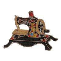 Enameled Clotilde Sewing Machine Pin
