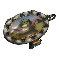 1920's Enameled Silver Moses Basket Charm with Baby - Sphinx