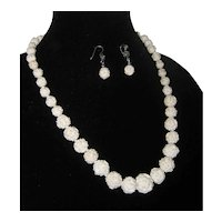 Carved Turkish Meerschaum Graduated Rosette Necklace with Matching Earrings