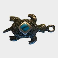 Turtle Charm with Turquoise Inset