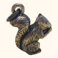 Three Dimensional Sterling Silver Squirrel Charm
