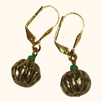 Gold-Tone Pumpkin Earrings with Green Glass Stems