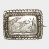800 Silver Aesthetic Era Brooch with Flying Bird