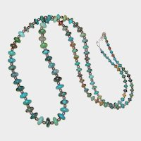 """30"""" Graduated Turquoise Disc and Sterling Bead Necklace"""