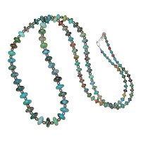 "30"" Graduated Turquoise Disc and Sterling Bead Necklace"