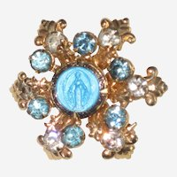 "Blue Enamel Virgin Mary ""Miraculous"" Pin with Rhinestones"