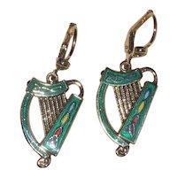 Gold-Plated Irish Harp Earrings with Green Enamel