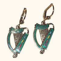 Gold-Plated Irish Harp Earrings with Green Enamel