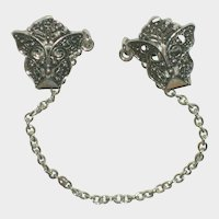 Silver-Tone Butterfly Sweater Guard - Clips