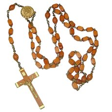 Vintage Wooden Rosary with Holy Water Receptacle