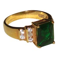 Imitation Green Emerald Costume Jewelry Ring- Size 8