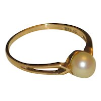 10K Yellow Gold Cultured Pearl Ring - Size 7