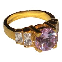 Vintage Imitation Amethyst Ring with Lots of Bling - Size 8
