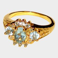 Imitation Blue Topaz or Aquamarine Ring in Gold-tone Setting - Size 8