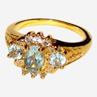 Imitation Blue Topaz or Aquamarine Ring in Gold-tone Setting - Size 8