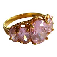 Imitation Pink Topaz Ring in Gold-tone Setting - Size 8