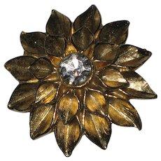 Gold-tone Dahlia Sunburst Flower Brooch