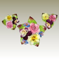 English Bone China Flower Pin and Earrings with Roses, Pansies and Forget-me-nots