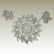 White Milk Glass Rhinestone Sunburst Brooch with Matching Clip Earrings