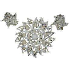 White Milk Glass Rhinestone Sunburst Brooch with Matching Clip Earrings