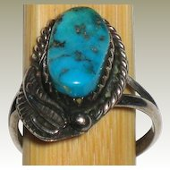 Navajo Turquoise and Sterling Ring Size 4