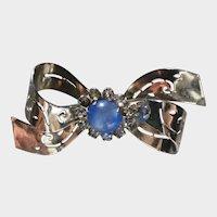 Classic Coro - 1950's Silver-tone Bow Pin with Rhinestone Center