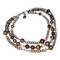 1950's Multi-strand Beaded Necklace with Crystal and Metallic Finish Beads