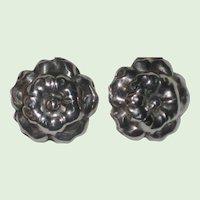 1940's Sterling Silver Screw-back Earrings  - Flower or Puffed Rose