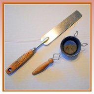 Vintage Kitchen Utensils - Spatula and Strainer