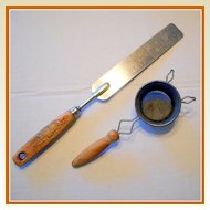 Vintage Kitchen Utensils - Spatula and Strainer