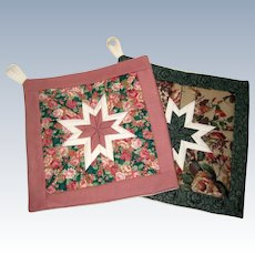 Pair of Amish Folded Star Quilted Pot Holders