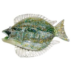 Nichols Art Glass Flounder Sculpture - Signed