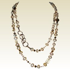 """Artisan Necklace of Cultured Baroque Pearls and Swarovski Crystal Beads - 36"""""""