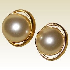 Faux Mabe Pearl Post Earrings - 1970's