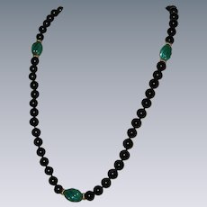"""Carved Malachite and Onyx Hand Knotted Necklace with 14K Gold Accents - 28"""""""