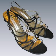 Ann Marino Crepe de Chine High Heeled Sandals with Rhinestone Accents - Size 7M