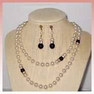 Opera Length Necklace and Earring Set - High Quality Costume Pearls with Onyx and Rhinestone Accents