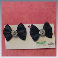 Vintage Satin Bow and Rhinestone Shoe Clips