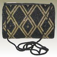 Carla Marchi Black and Gold Beaded Handbag - Mint