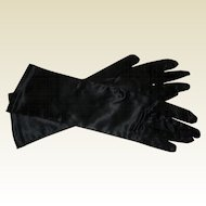 Black Satin Stretch Gloves - Size 7 - Like New