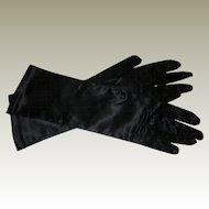 Black Satin Stretch Gloves - Size 7 - Like New