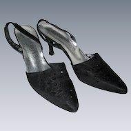 Crepe d'Chine Slingback Dress Shoes - Size 7 1/2 AAA