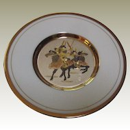 Japanese Porcelain Chokin Plate with Samurai Warriors on Horseback - 24K Gold Edged