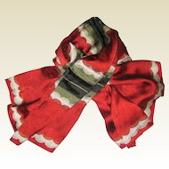 Linda Allard for Ellen Tracy Red Silk Scarf