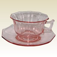 Pink Cambridge Glass Decagon Cup and Saucer