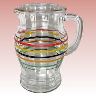 1940's Hazel Atlas Striped Glass Pitcher